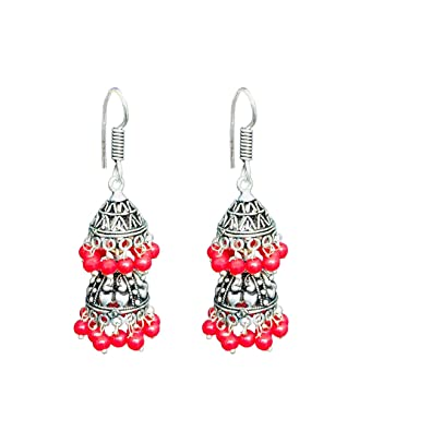 ce1520d0b Buy Elegant Designs Women Earring Red Oxidized Silver Jhumki Earrings for  Women And Girls Fashion Online at Low Prices in India | Amazon Jewellery  Store ...