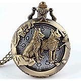 Reloj de bolsillo de collar - SODIAL(R) Reloj de bolsillo de colgant del cuarzo del collar de numeros romanos negro de steampunk de la vendimia Regalo