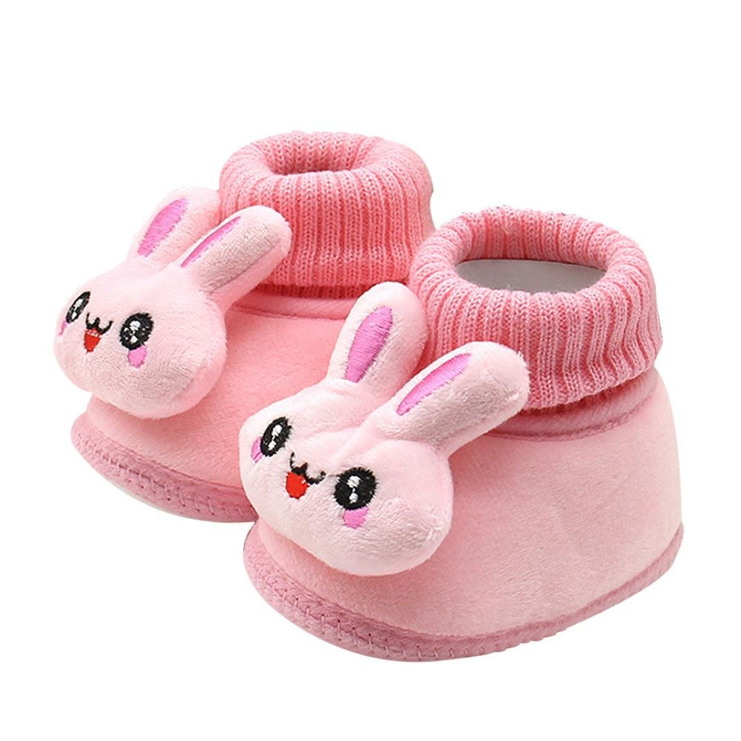 Baby Girls Boys Walking Boots Mingfa Winter Warm Cute Rabbit Soft Sole Anti-slip Infant Toddler Snow Booties Crib Shoes (Age:0~6 Month, Pink) Mingfa.y