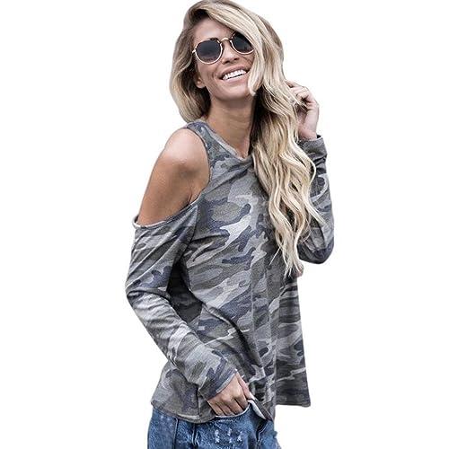 Mujer camisa de manga larga, Yannerr casual fuera del hombro camuflaje Blusa caída Tops
