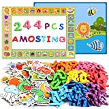 AMOSTING Alphabet Magnets Toddler Toys Educational Magnetic Letters 244Pcs Refrigerator Magnet for Preschool Learning Numbers Farm Animal Spelling ABC for Kids with Board