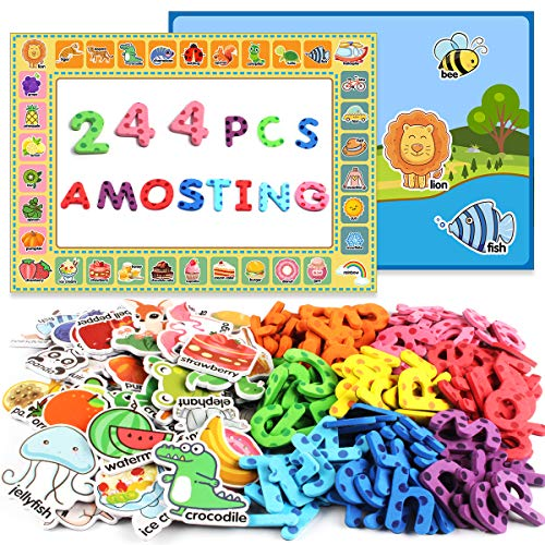 (AMOSTING Magnetic Letters Alphabet Educational Fridge Toys 244Pcs Refrigerator Magnets for Preschool Learning Numbers Farm Animal Spelling ABC for Kids with Board)