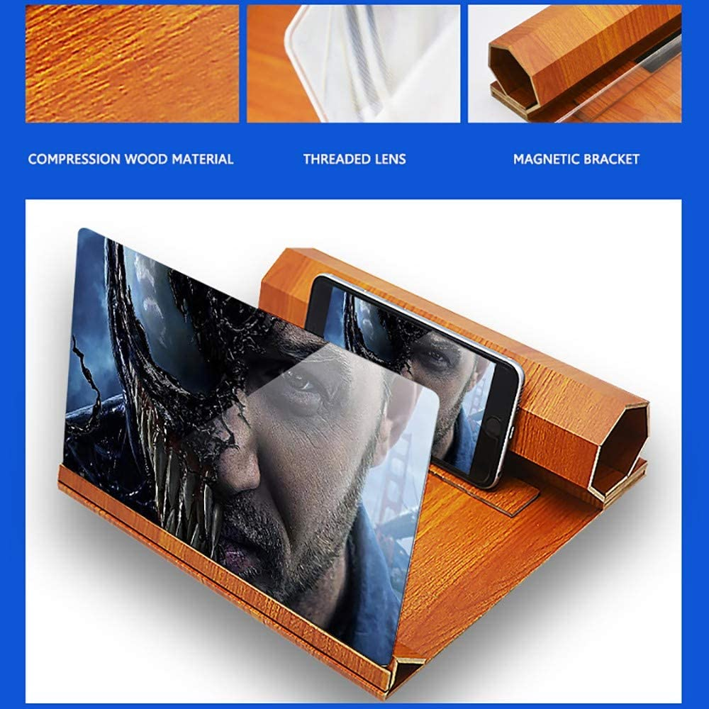 Wuyuliangshop-Magnifier Smartphone Magnifier,Mobile Screen Magnifier,12 Inch Foldable 3D Mobile Phone Screen Stereoscopic Projection Magnifier Amplifier Desktop Bracket Phone Holder Stand Wood Color