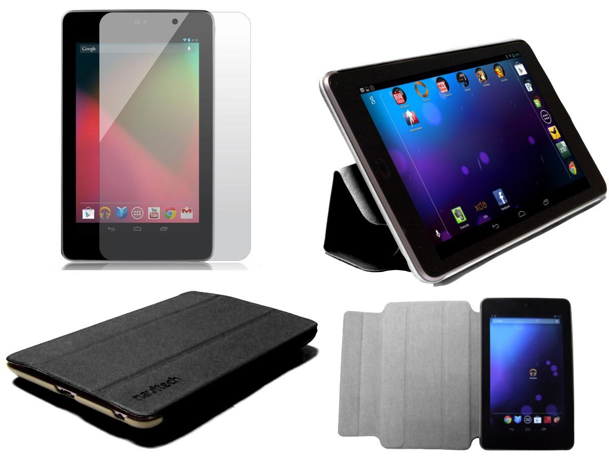 MiTAB Black Hard Protective Smart Cover Case With WAKE / SLEEP Function & Anti Glare Screen Protector / Guard For The Google Nexus 7 By Asus Android 4.1 Jellybean Tablet