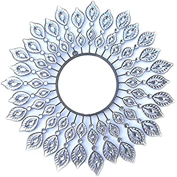 Lulu Decor, Decorative Leaf Metal Wall Mirror, Perfect for Housewarming Gift (Crystal Mirror1)