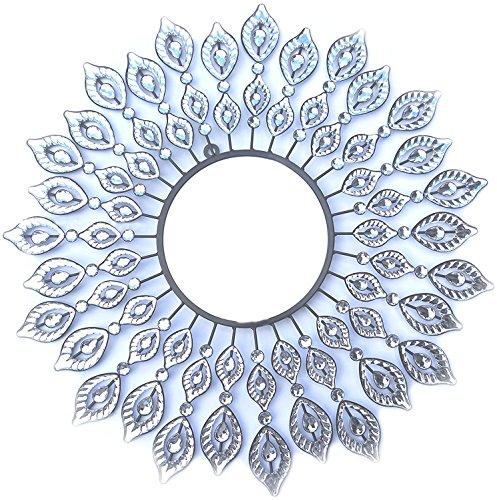 Lulu Decor, Decorative Leaf Metal Wall Mirror, Perfect for H