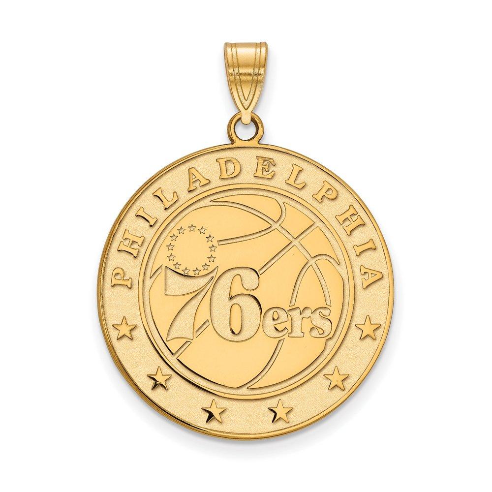 NBA Philadelphia 76ers Xlarge Logo Pendant in 14K Yellow Gold