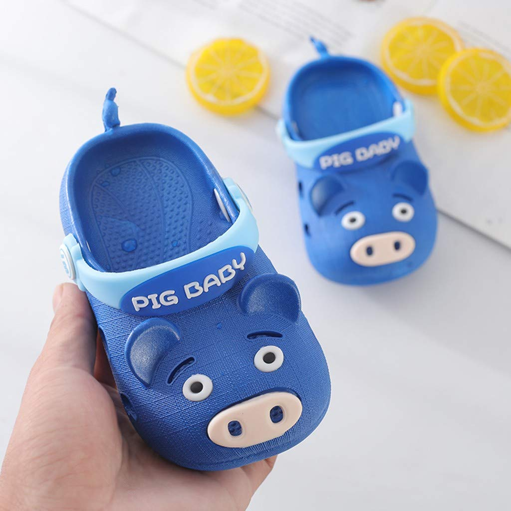 Looekveoyi Infant Baby Girls Sandals 1-4Years Old Summer Children Cute Anti-Skid Strappy Slippers Baby Cartoon Pig Beach Shoes Sandals
