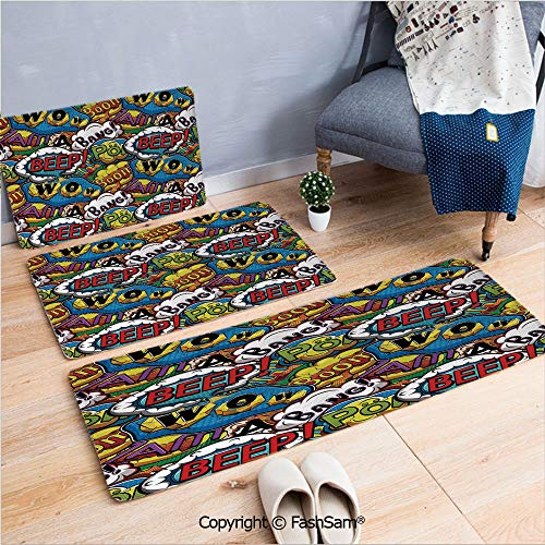 FashSam 3 Piece Flannel Doormat Comics Speech Bubbles Beep Wow with Vivid Old Effects Boys Supernatural Print Decorative for Kitchen Rugs Carpet(W15.7xL23.6 by W19.6xL31.5 by W35.4xL62.9)