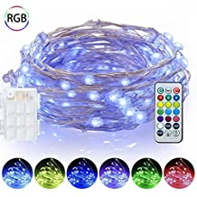 EShing Dimmable String Lights, 16.4ft 50 LED Battery Powered Multi Color Changing String Lights with Remote, 13 Individual Colors Starry Fairy String lights for Bedroom, Garden, Christmas, Parties