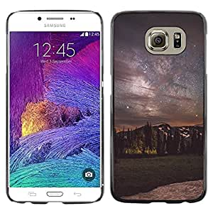 rígido protector delgado Shell Prima Delgada Casa Carcasa Funda Case Bandera Cover Armor para Samsung Galaxy S6 SM-G920 /Milky Way Night Sky Mountains/ STRONG