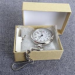 Silver Tone Nurse Watch Clip-On Brooch Pocket Second Hand Clock Medical Gift Box Lanyard FOB ID Tag Timer