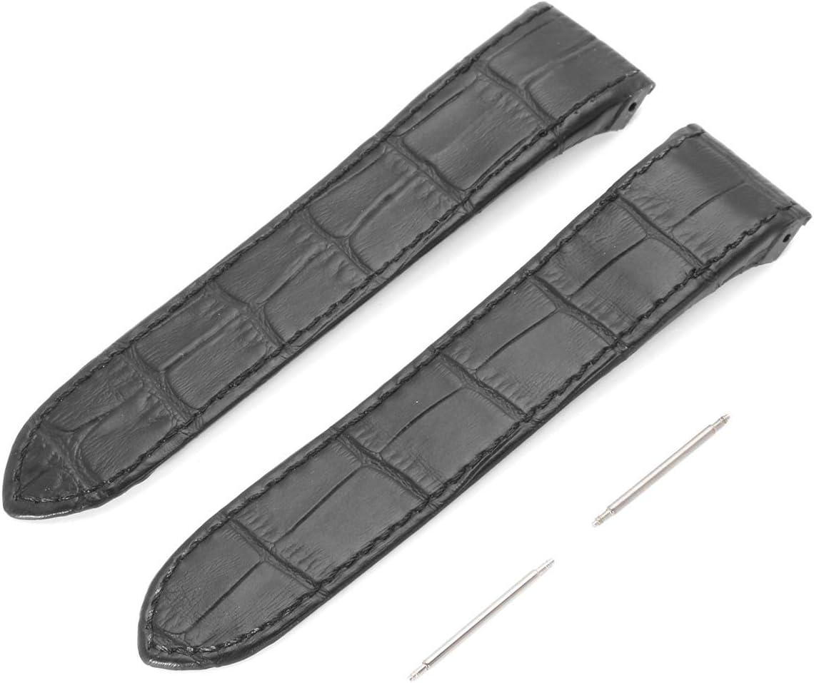 DyNamic Banda De Reloj De Cuero Suave Negro 23Mm para Cartier Santos 100Xl con Hebilla Pins