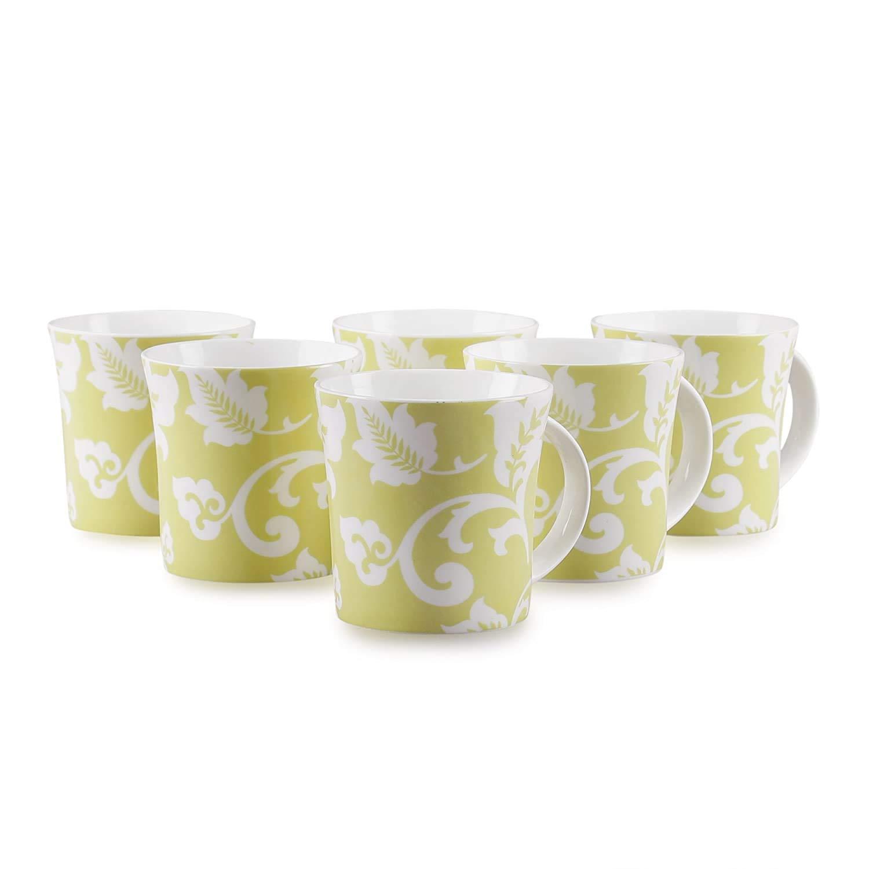 Bone China Coffee Mug Set, 6 Piece