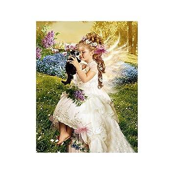 Aihometm 5d Diamant Malen Zum Selbstgestalten Malen Nach Zahlen Kristallmalerei Romantisches Rosenmuster 30 X 40 Cm Angel Girl