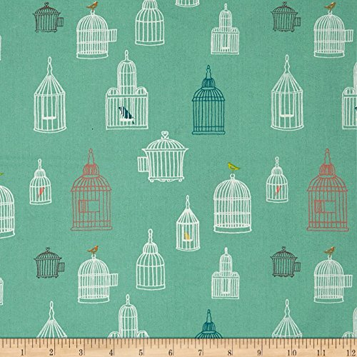 Birch Organic Farm Fresh Bird Song Pool Fabric By The Yard (Birch Farm White)