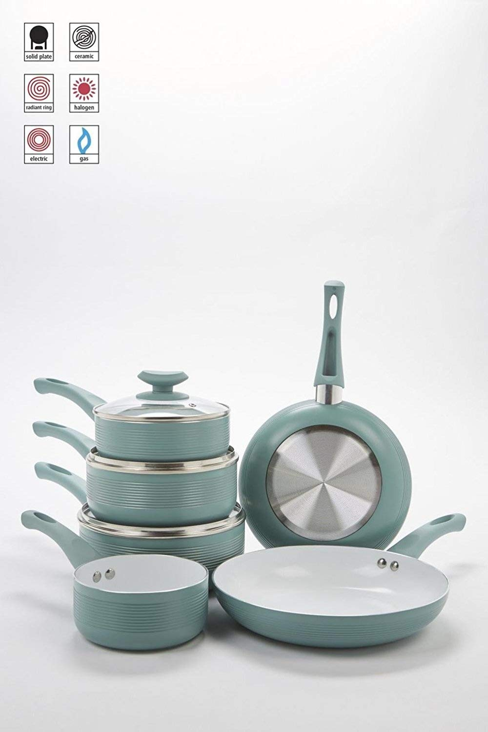 6-Piece Duck-Egg Ribbed Ceramic Non-Stick Pan Set E.G.L