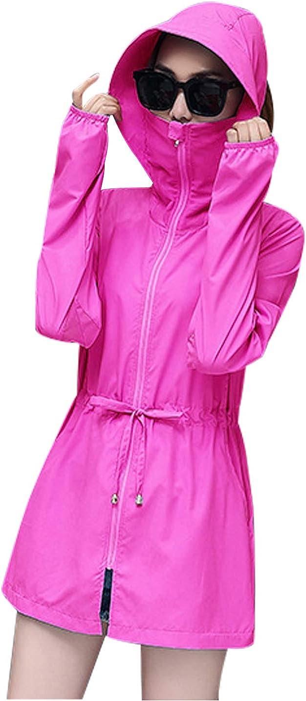 Lentta Womens UV Sun Protection Long Sleeve Beach Covers Up with Hood Rain Jacket