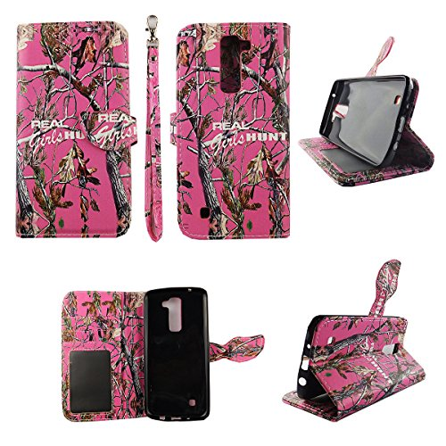 Camo Real Girls Hunt Wallet Folio Case for LG K7 Treasure Dual Layer Interior Design Flip PU Leather Cover Card Cash Slots & Stand (Lg Flip Phone Cases Camo)