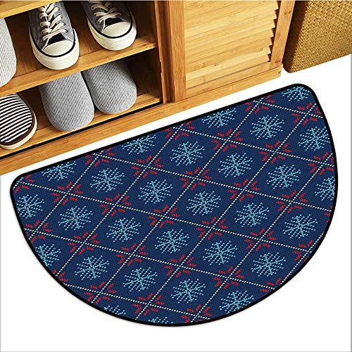 TableCovers&Home Pet Mat Machine Washable, Nordic Doormats for Living Room, Checkered Pattern with Vintage Snowflake Motifs Norwegian Traditional Xmas (Blue Beige Scarlet, H20 x D32 Semicircle)