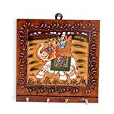Little India Wooden Carved and Hand painted Four Key Stand 300