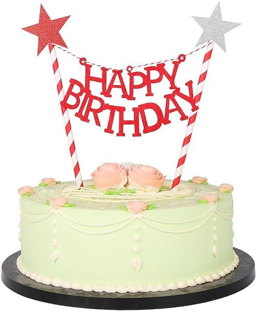 Amazon.com: lxzs-bh Mini pancarta de feliz tarta de ...