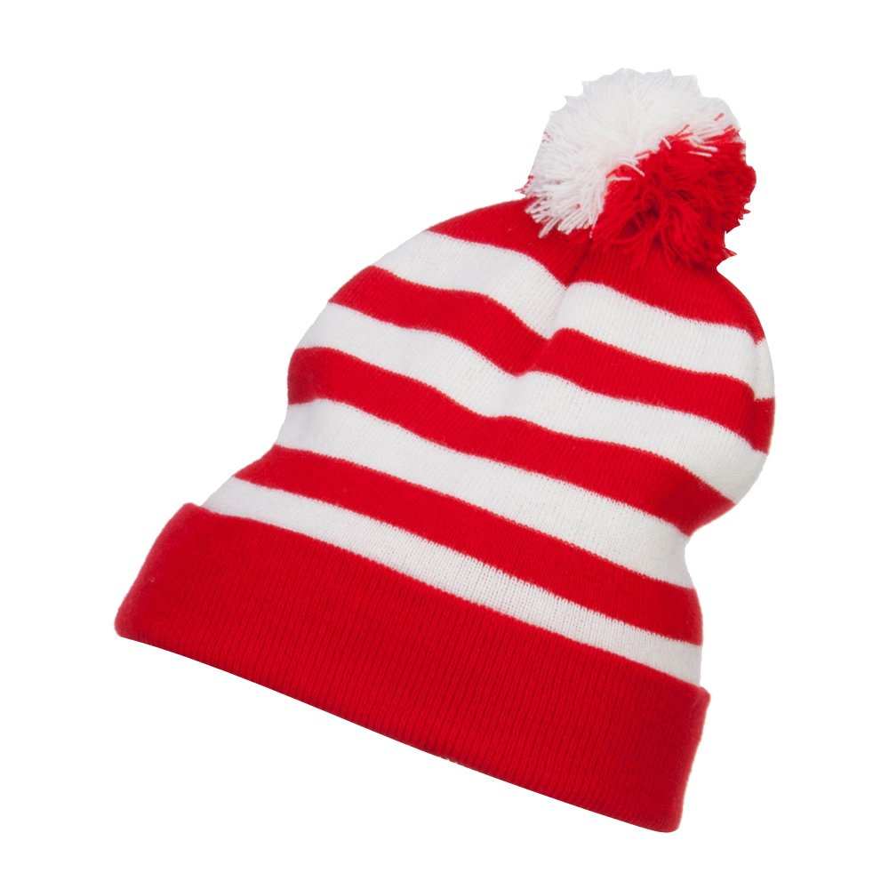 1f695bdc95d e4Hats.com Striped Pom Pom Cuff Long Beanie - Red White OSFM at Amazon  Men s Clothing store
