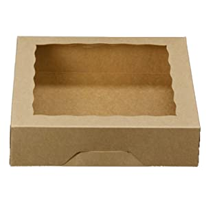ONE MORE 10inch Natural Kraft Bakery Pie Boxes With PVC Windows,Large Cookie box 10x10x2.5inch 12 of Pack (Brown,12)