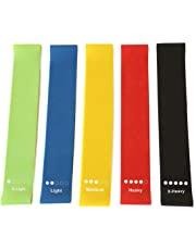 Resistance Loop Bands, Exercise Bands, GANA Set of 5 Natural Latex Fitness Bands for Workout and Physical Therapy, E-Guide, Pilates, Yoga, Rehab, Improve Mobility and Strength