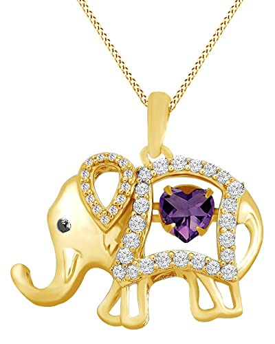 AFFY Round Cut Cubic Zirconia Elephant Floater Pendant Necklace in 14K Yellow Gold Over Sterling Silver