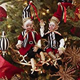 16 Inch Tall Set of 2 Posable Elves, 2017 Christmas Elves in Red, Black and Gold