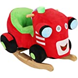 KARMAS PRODUCTS Kids Plush Rocking Horse Train Wooden Rocker Chair with Wheels,Seat Belt,Ride on Toy