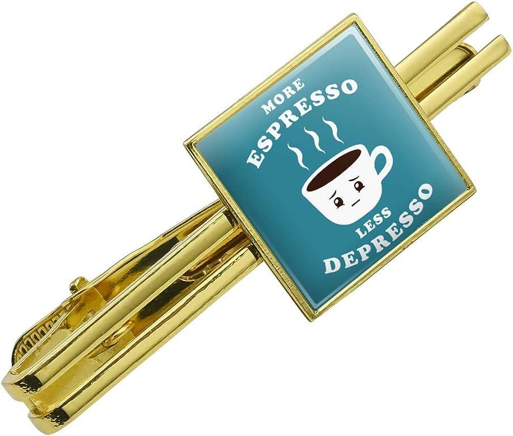 More Espresso Less Depresso Funny Round Tie Bar Clip Clasp Tack Silver