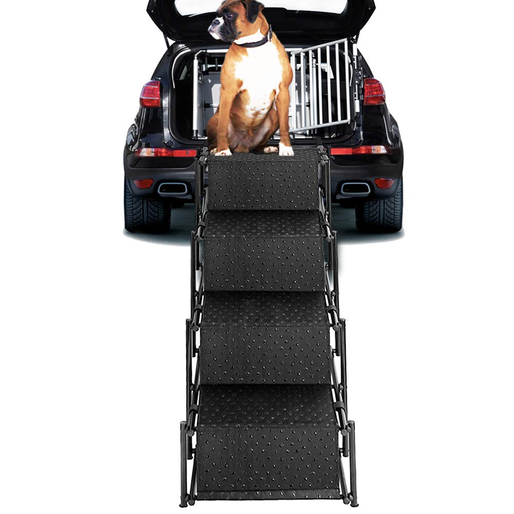 Upgraded Pet Dog Car Step Stairs, Accordion Folding Pet Ramp for Indoor Outdoor Use, Lightweight Portable Auto Large Dog Ladder, Great for Cars, Trucks and SUVs Cargo, Couch and High Bed, 4 Steps by Snagle Paw