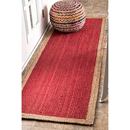 Handmade Natural Fibers Border Jute Red Runner Area Rugs, 2 Feet 6 Inches by 8 Feet (2′ 6 x 8′)