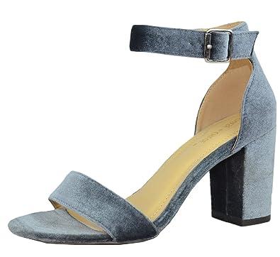 dbd2a40e346 Chase   Chloe Carly-2 Women s Velvet Stacked Chunky Heel Strappy Platform  Sandal