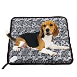 Pet Heating Pad - LOCHAS Indoor Dog Cat Electric Heating Pad Waterproof Pet Bed Warmer Adjustable Warming Mat with Chew Resistant Steel Cord 17.7