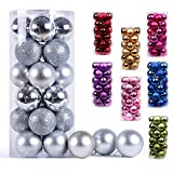 AMS Christmas Ball Ornaments Exquisite Colorful Balls Decorations Pendant Pack of 24pcs (40mm, Silver)