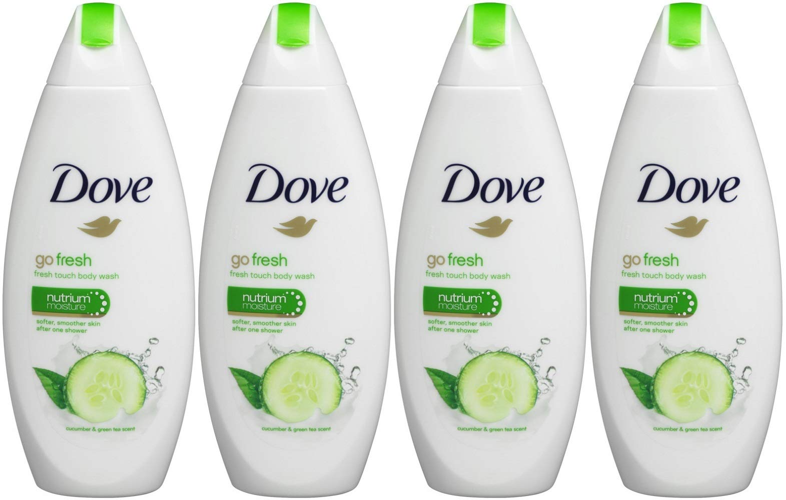 Dove Go Fresh Cool Moisture Fresh Touch Body Wash, Cucumber and Green Tea, 16.9 Oz / 500 Ml (Pack of 4) International Version by Dove