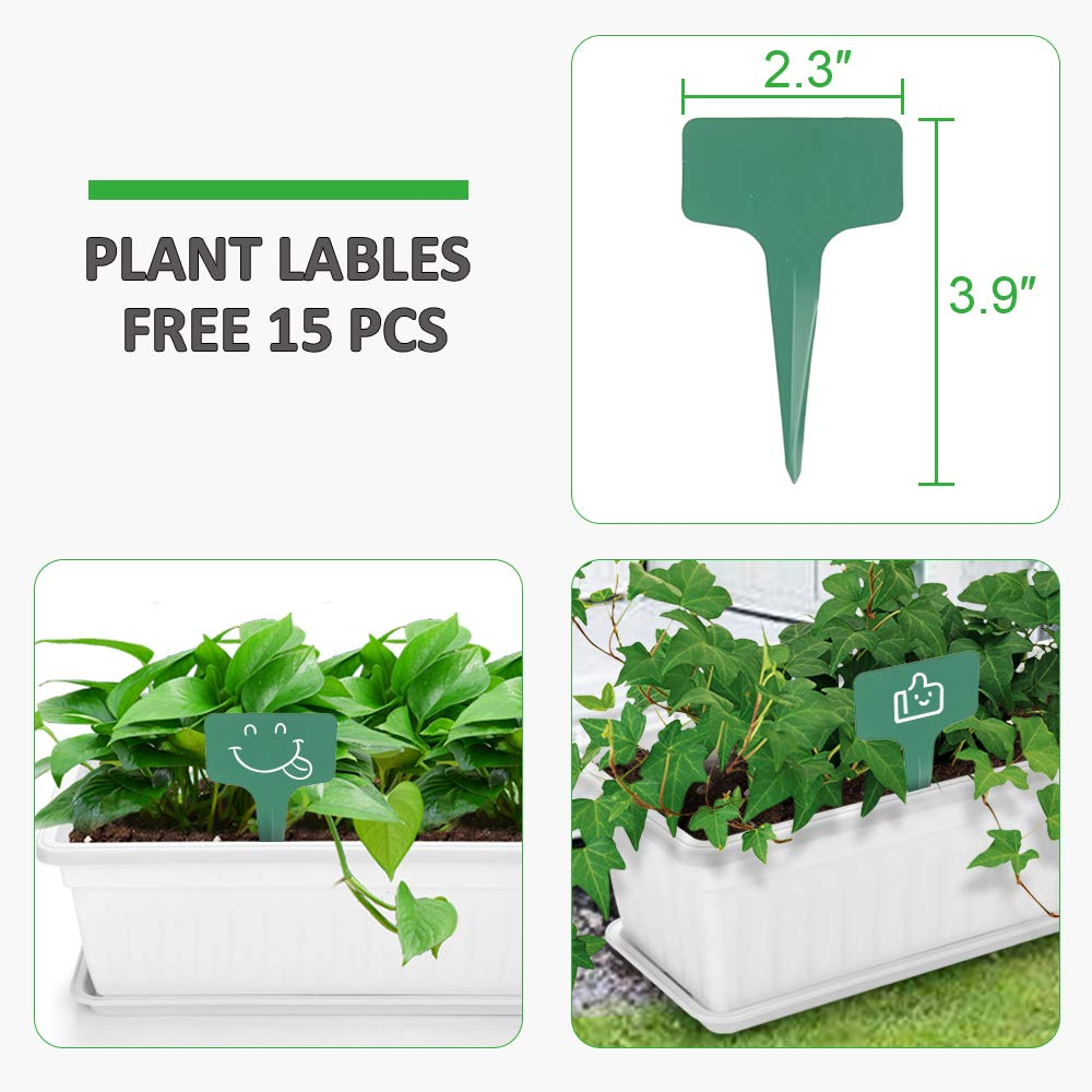 GROWNEER 3 Packs 17 Inches White Flower Window Box Plastic Planters with 15 Pcs Plant Labels, for Windowsill, Patio, Garden, Home D cor, Porch