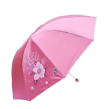 Paraguas Parasol Sombrilla Plegada Se Pliega Paraguas Paraguas De Vinilo,Pink