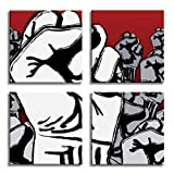 JP London 4 Panels 14in 4 Huge Gallery Wrap Canvas Wall Art Fight the Power the Fist Grafitti At Overall 28in QDCNV0044