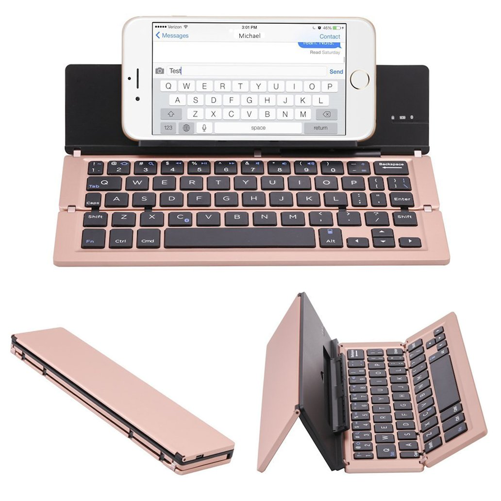 Lucky2Buy Foldable Portable Bluetooth Wireless Keyboard with Kickstand Holder For iPhone, iPad, Andriod Smartphone and Windows Tablet - Rose Gold by Lucky2Buy (Image #1)
