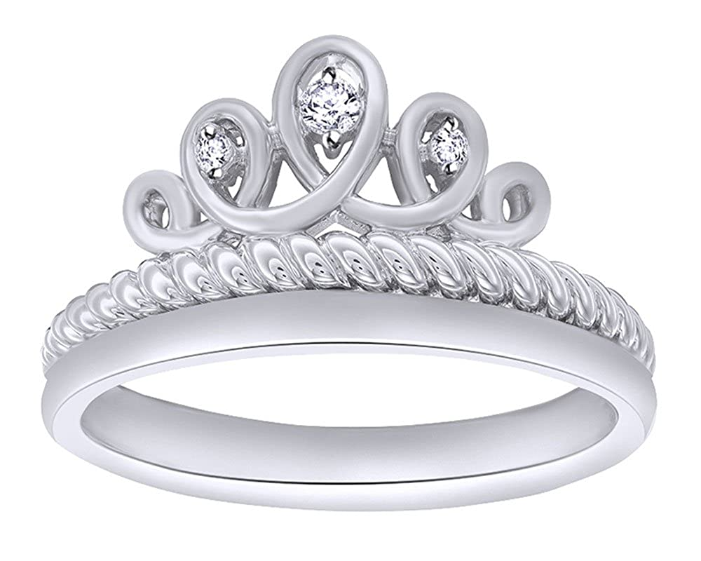 Round Cut White Cubic Zirconia Womens Crown Ring in 14K Gold Over Sterling Silver
