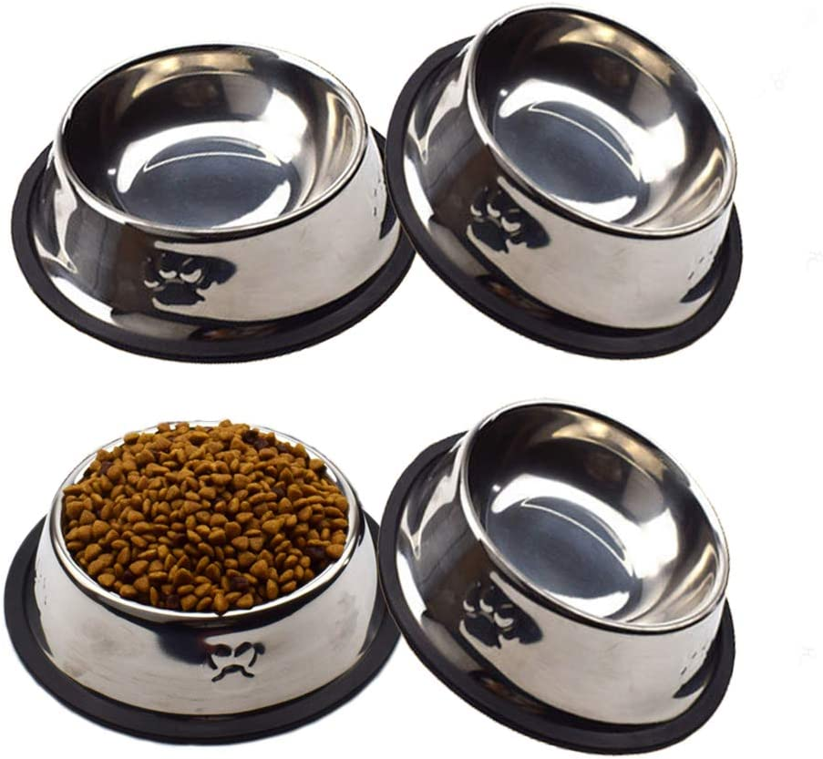 Welcomnny 4 Pack Cat Bowls, Anti-Slip Non-Spill Stainless Steel Cat Food Bowls