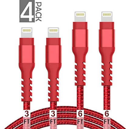 AHGEIIY MFi Certified iPhone Charger Cable,4Pack 3.3FT 6.6FT Nylon Braided Fast Charging Cable for iPhone Xs, Max, XR, X,8 Plus,8,7 Plus,7,6 Plus,6,6S ...
