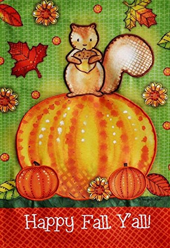 Happy Fall Ya All Appliqued Pumpkin Large Decorative House Flag 28