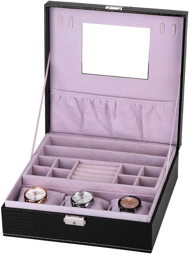Estuche de Almacenamiento de Joyería Multifuncional, Caja de Organizador de Relojes de PU para Coleccion y Almacenamiento: Amazon.es: Belleza