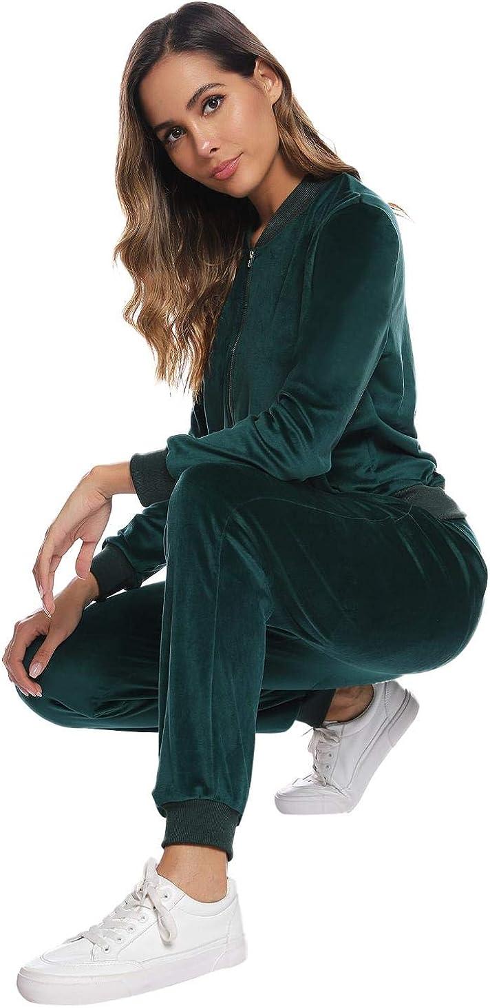 Akalnny Tuta Sportive da Donna Giacche a Maniche Lunghe in Velluto con Cerniera Pantaloni a Vita Alta Set Donna Casual Pigiama