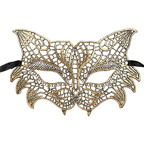 Fancy Ladies Womens Dress Ball Lace Mask Halloween Catwoman Masquerade Eye Mask Zulmaliu (Gold) -